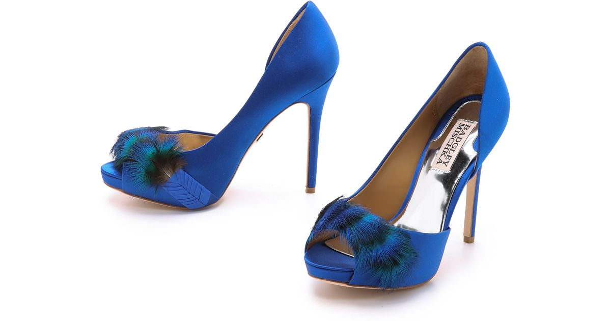 e8b8e4f17464 Badgley Mischka Piper Feather Peep Toe Pumps - Sapphire in Blue - Lyst
