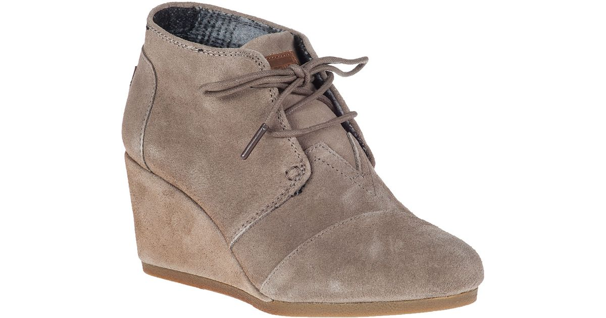 21eae54fbf2 Lyst - TOMS Desert Wedge Boot Taupe Suede in Natural