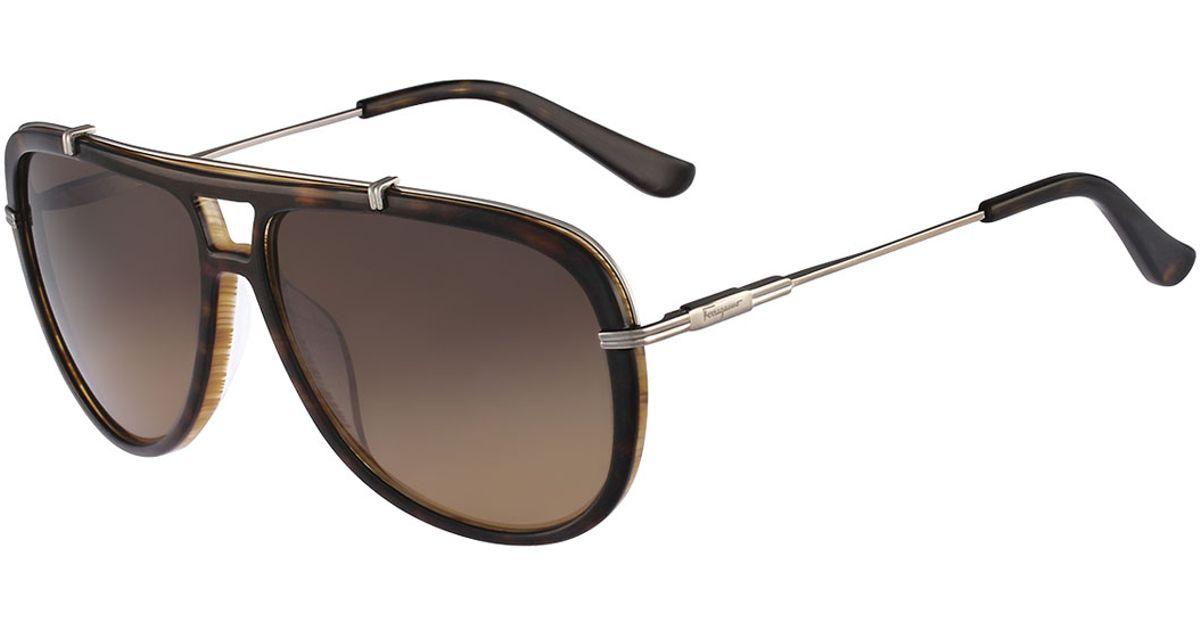 e10d3a27f61 Ferragamo Gladiator Sunglasses in Brown for Men - Lyst