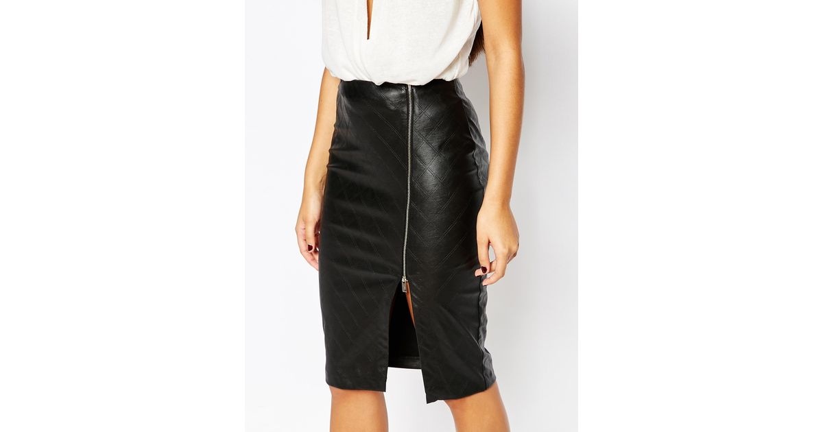 460ba138e8 Lipsy Quilted Faux Leather Pencil Skirt With Side Split Zip in Black - Lyst