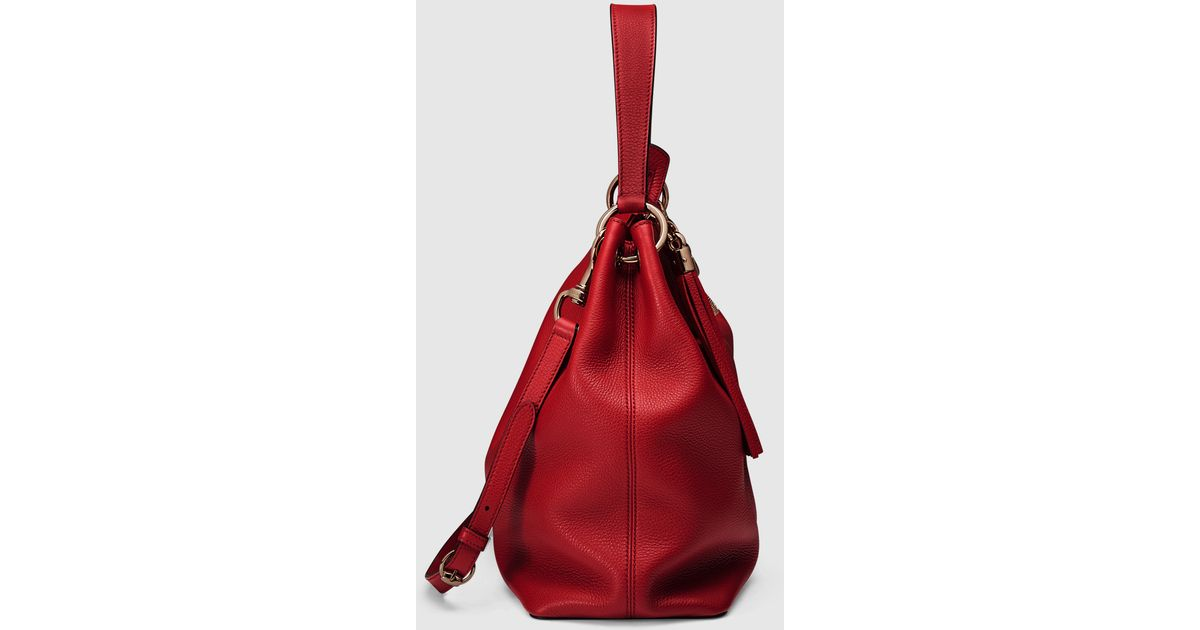 7c7615c68ec993 Gucci Soho Leather Hobo in Red - Lyst