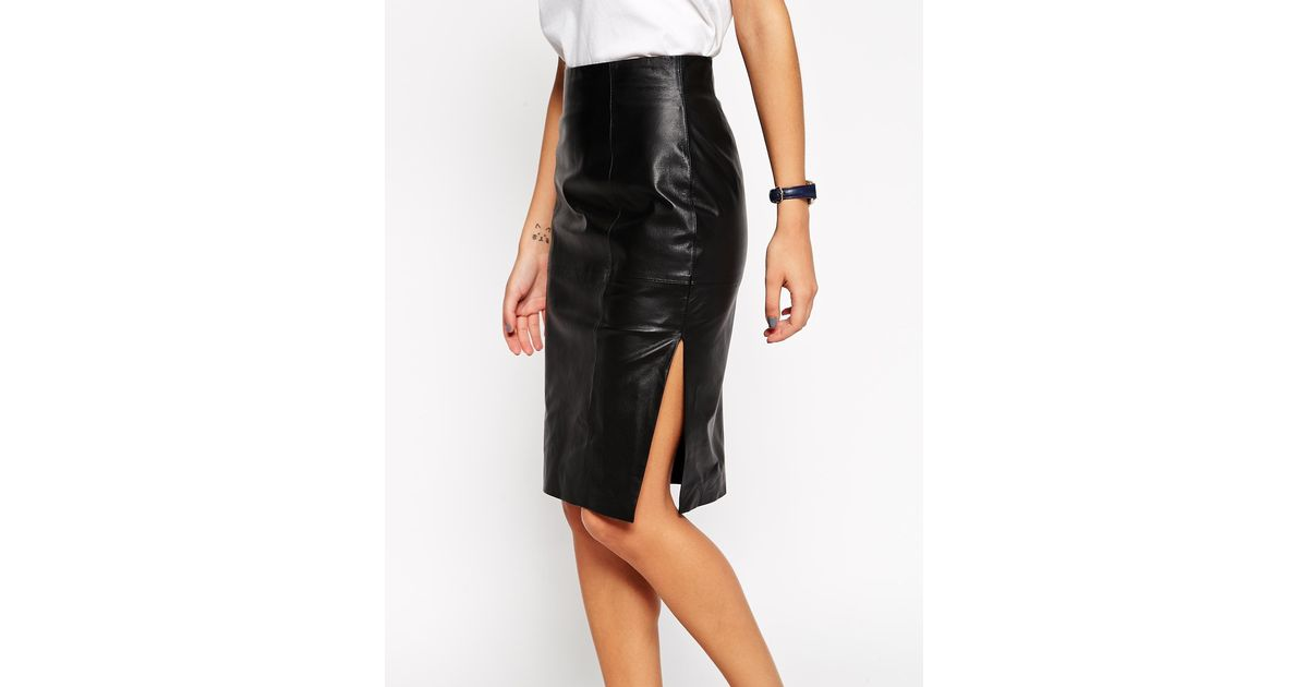 6b6b0fb41b ASOS Pencil Skirt In Leather With Side Split in Black - Lyst