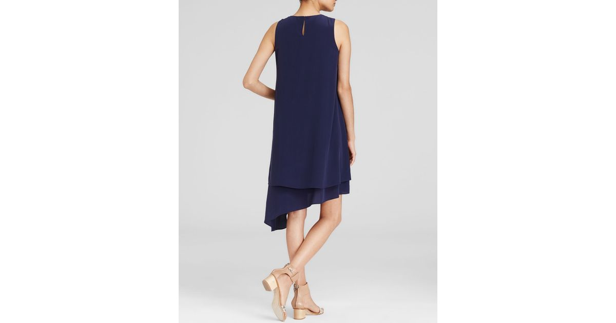 d30830ff8e Lyst - Eileen Fisher Double Layer Silk Dress in Blue