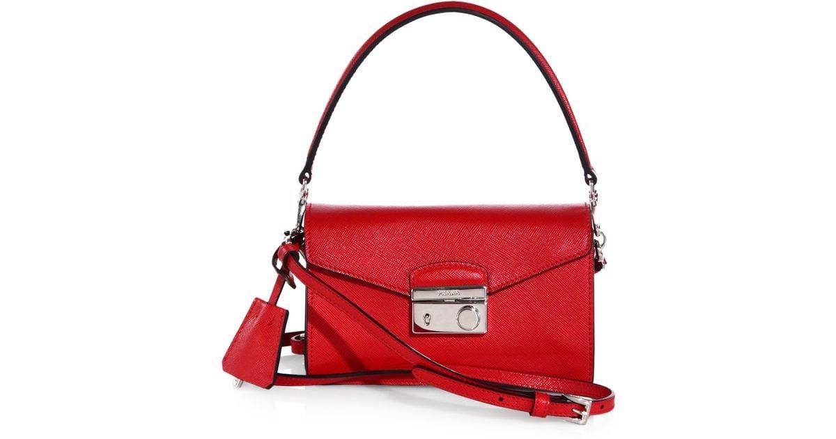 72a448767a37 Prada Saffiano Leather Mini Sound Crossbody Bag in Red - Lyst
