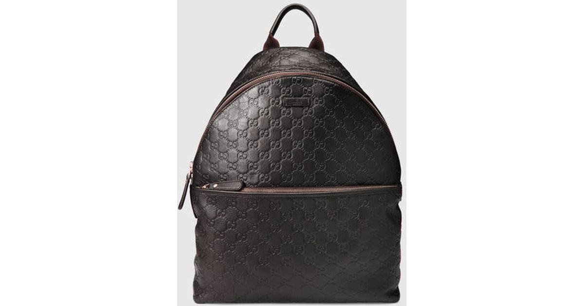 d2aa0abb1 Gucci Guccissima Leather Zip Backpack in Brown - Lyst