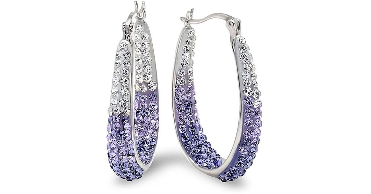 Lyst Amanda Rose Collection Sterling Silver Purple And White Hoop Earrings Made With Swarovski Crystals In Metallic