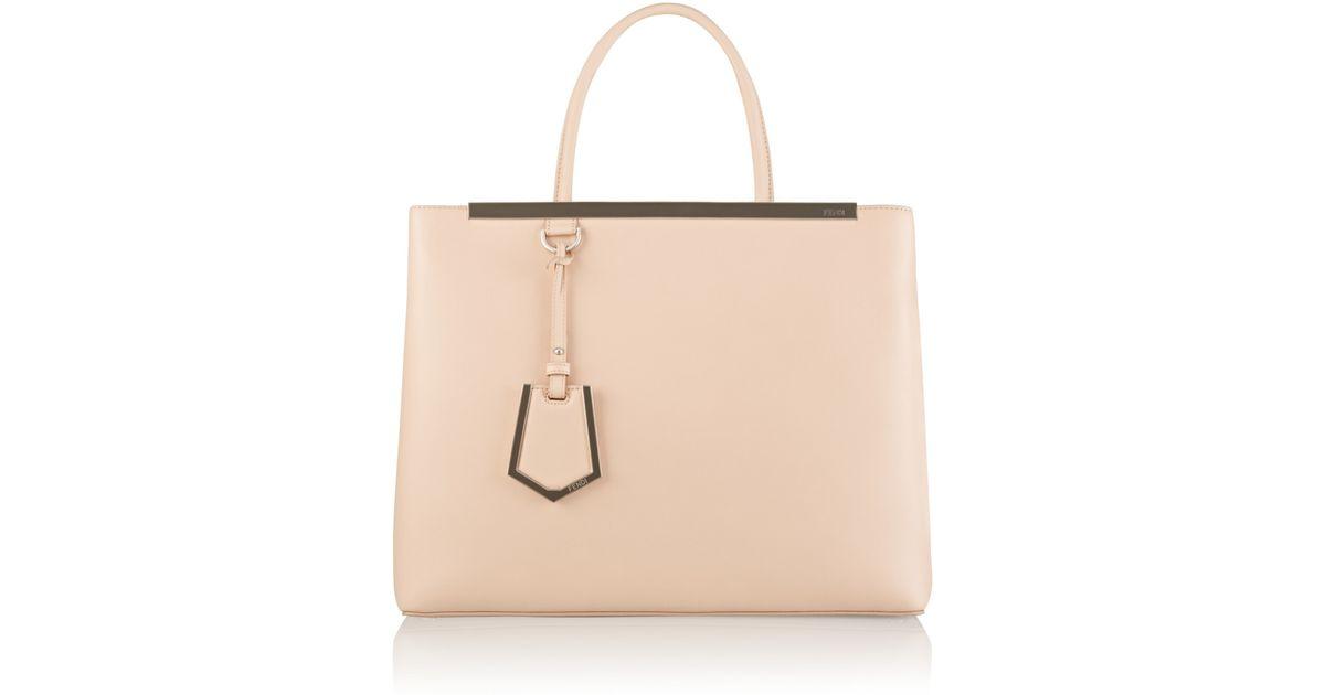 2533e420dffa Lyst - Fendi 2Jours Medium Textured-Leather Shopper in Pink