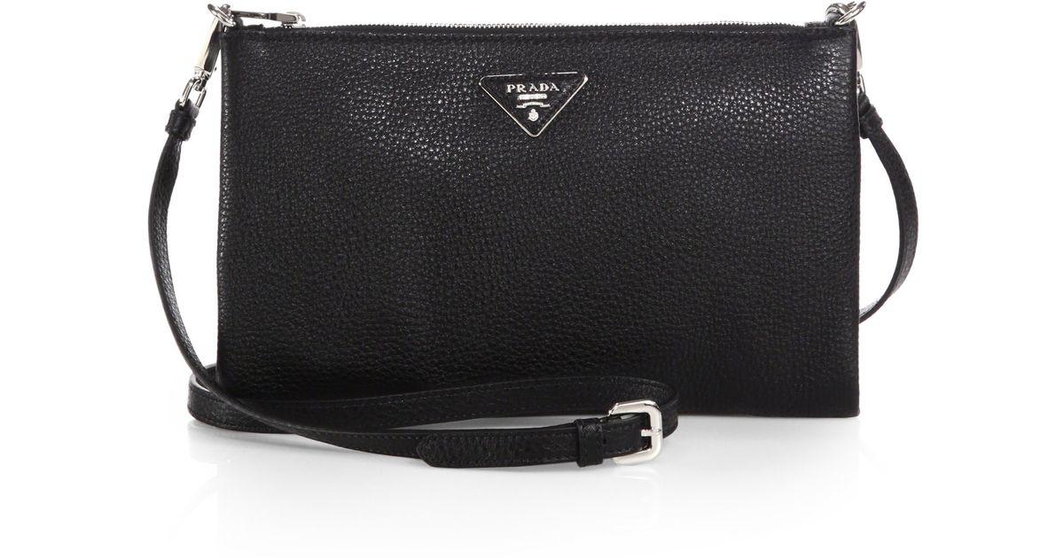 1df28f5ca21575 ... cheap lyst prada daino crossbody bag in black 4ba2f c336a