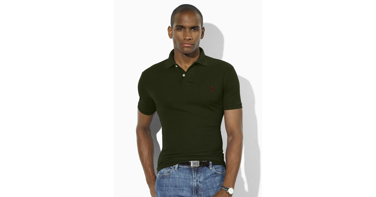 Ralph Lauren Mesh Green Polo Stickup Long Sleeved