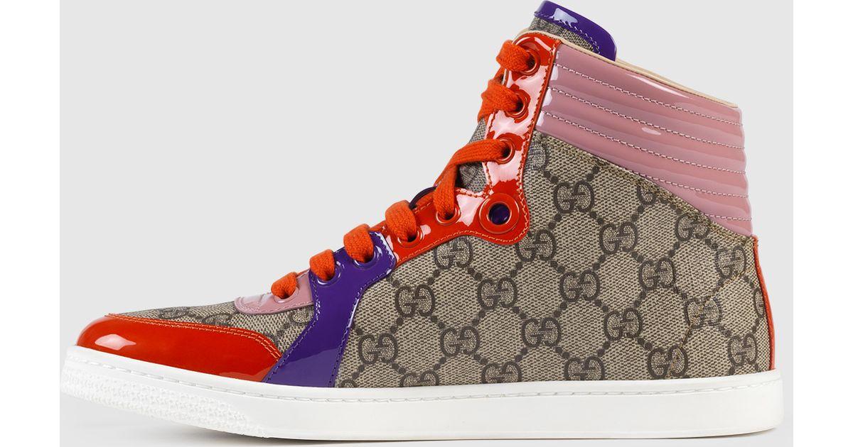 ebd86ea6b Gucci Gg Supreme High-top Sneaker in Gray - Lyst