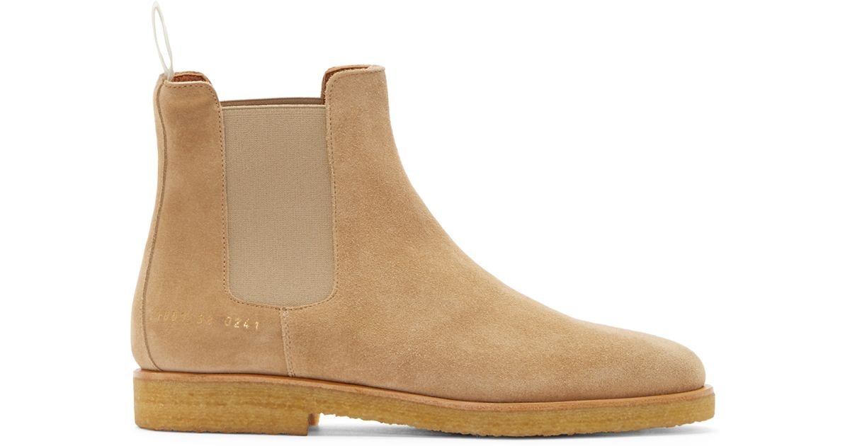 common projects suede chelsea boots in beige for men tan. Black Bedroom Furniture Sets. Home Design Ideas