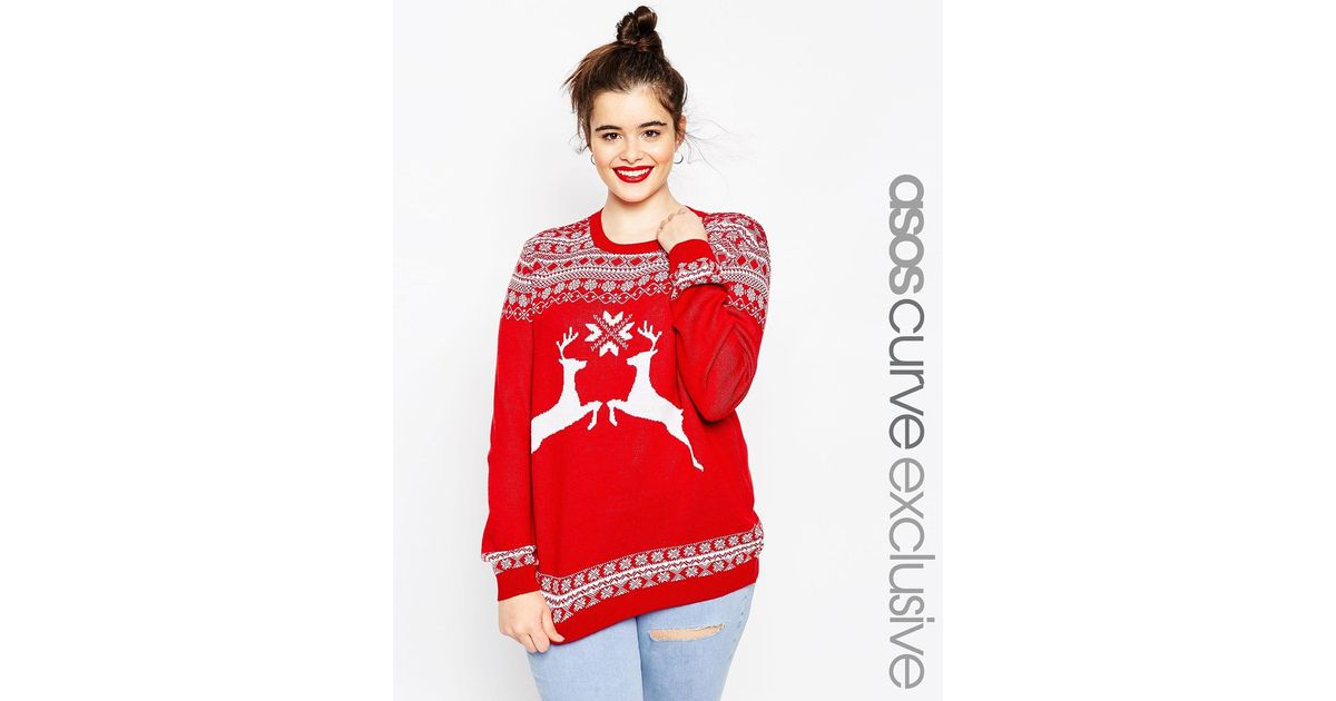Asos Christmas Jumper In Reindeer Fair Isle in Red | Lyst