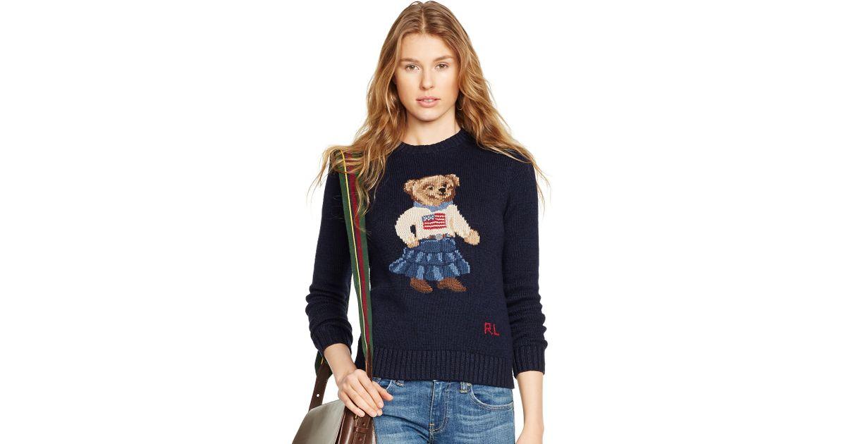 ralph lauren pima cotton bear sweater in blue lyst
