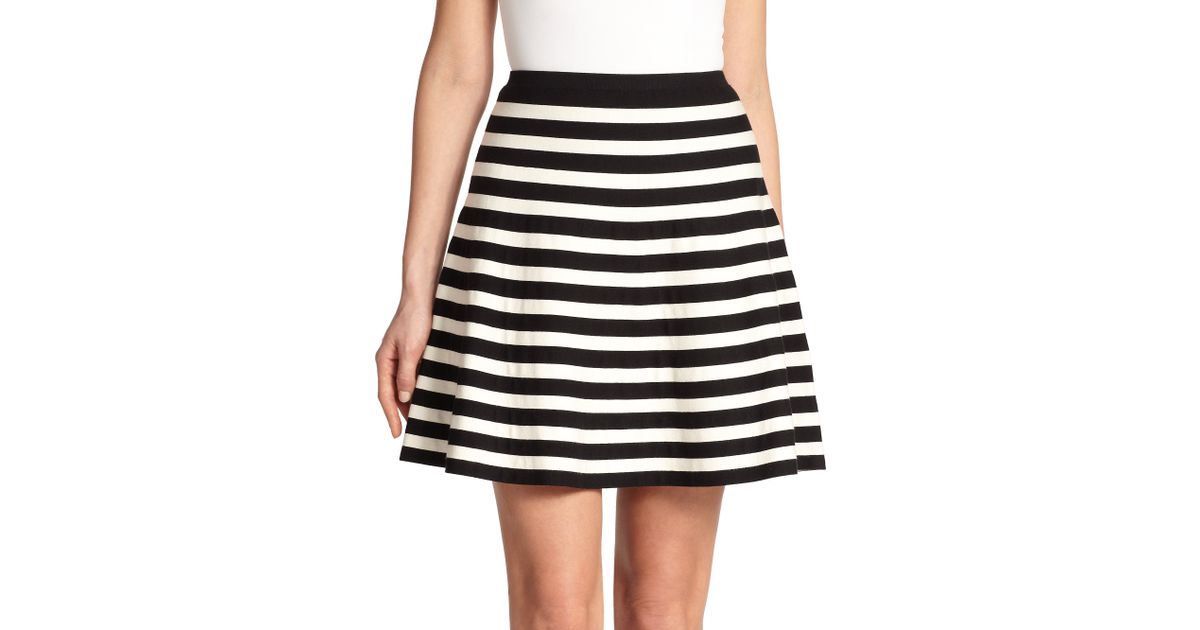 Polo ralph lauren Striped A-Line Skirt in White | Lyst