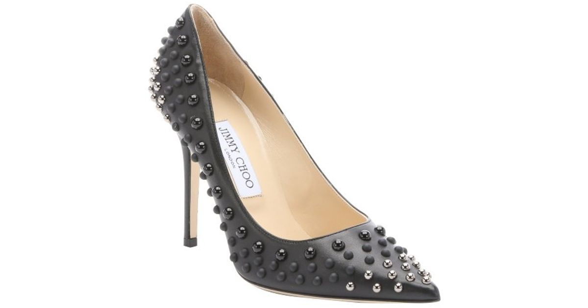 01a67d806dc ... shop lyst jimmy choo black and silver abel dome studded stiletto pumps  in black 9c0aa 0b4fd