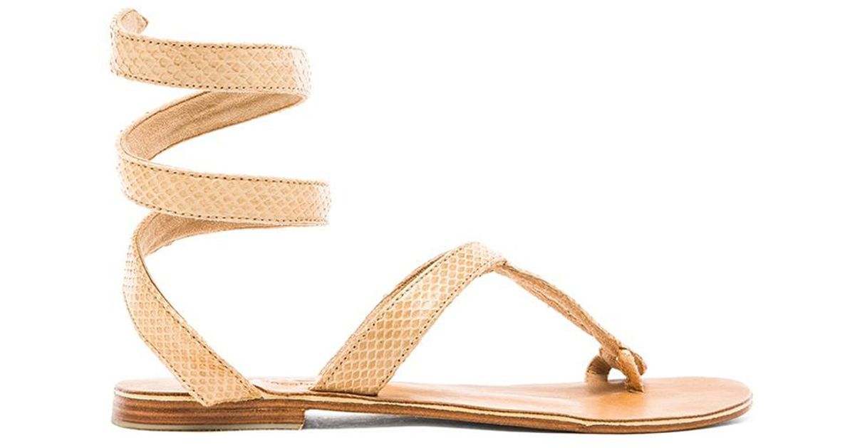 5ebd74efe46b74 Lyst - L Space By Cocobelle Snake-Embossed Leather Sandals in Natural