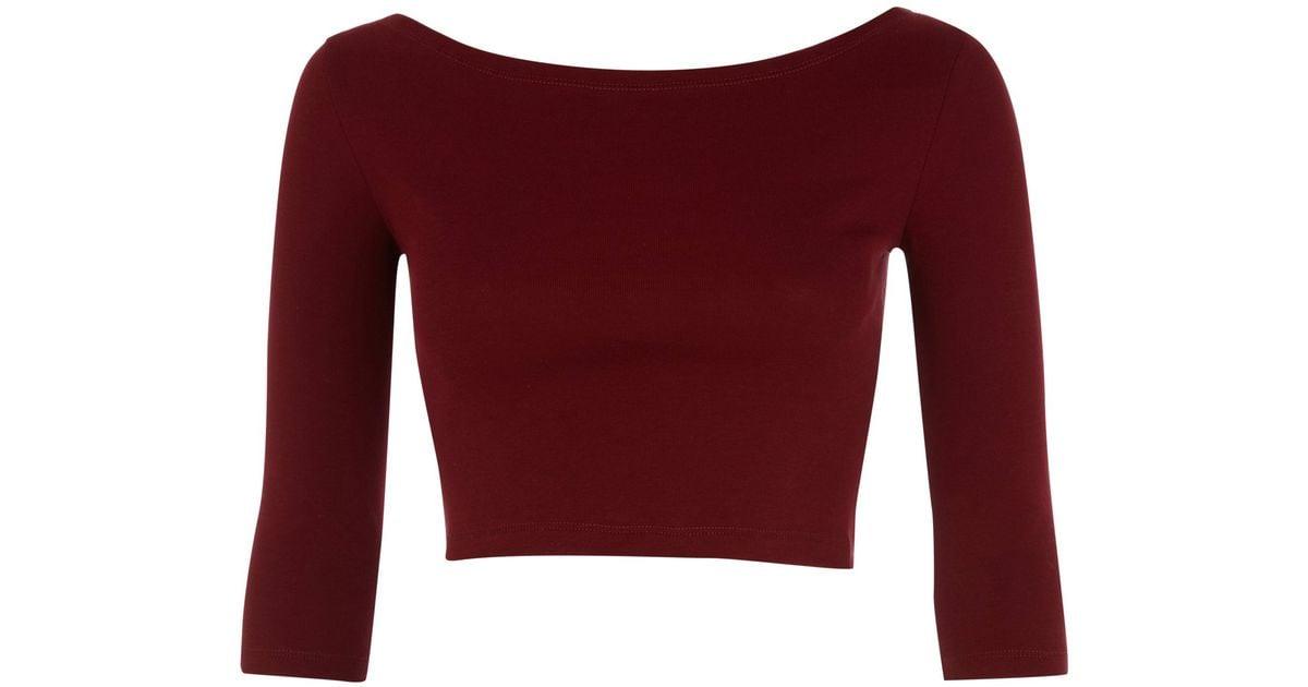 2e56cad9e496c2 River island dark red sleeve crop top in red lyst jpg 1200x630 Maroon crop  top
