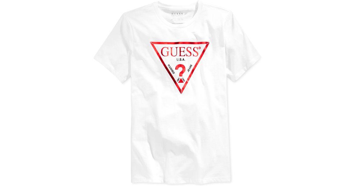1e0b88cdd8f6 Lyst Guess Men S Basic Foil Logo T Shirt In White For