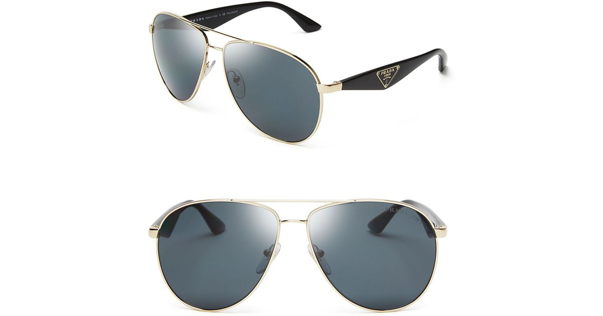 1be1c522d7c Lyst - Prada Polarized Double Bar Aviator Sunglasses in Metallic for Men