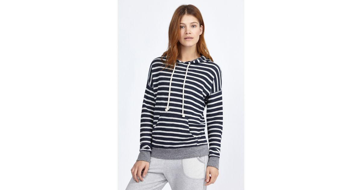Sundry Striped Pullover Hoodie in Blue (Navy/White/Heather ...