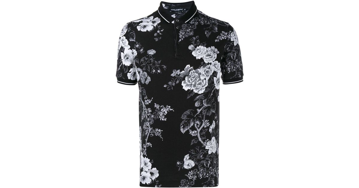 48a207e0 Dolce & Gabbana Floral Print Polo Shirt in Black for Men - Lyst