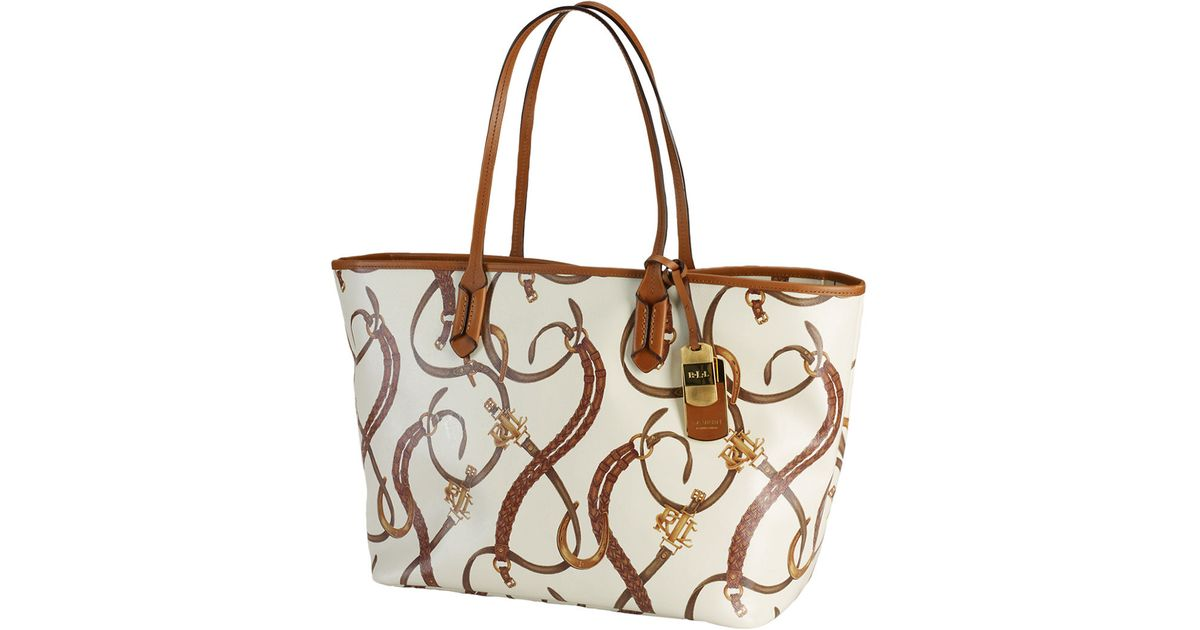 b5a80ab7a8 Lauren By Ralph Lauren Equestrianprint Classic Leather Tote Bag in Brown -  Lyst