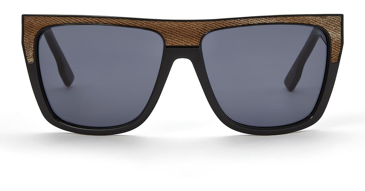 83166b12c7 Lyst - DIESEL Black   Brown Dl0099 Flat Top Wayfarer Sunglasses in Black  for Men