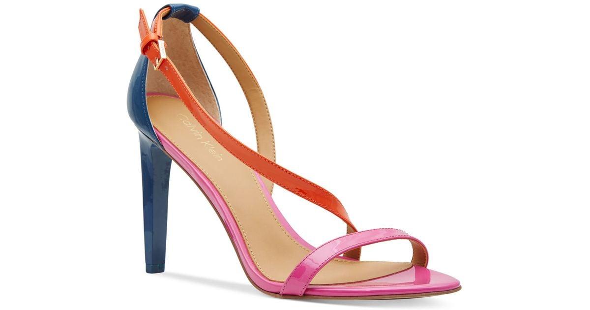 3d556dd9923 Lyst - Calvin Klein Women s Narella Colorblocked Dress Sandals