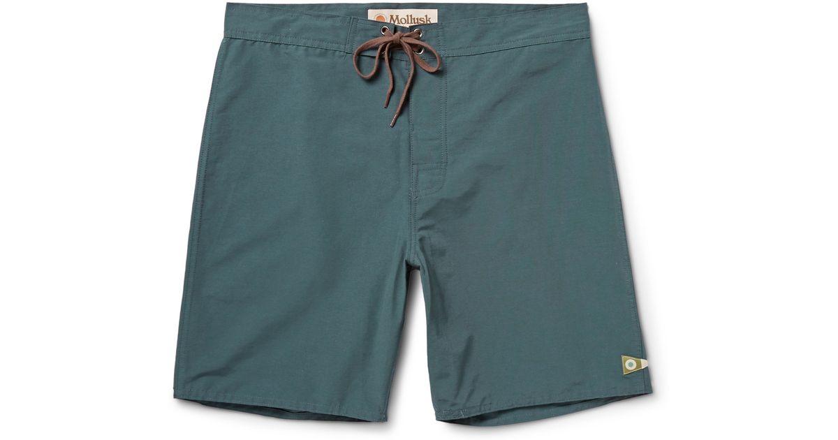 9c892babda Mollusk Pennant Cotton-Blend Swim Shorts in Blue for Men - Lyst