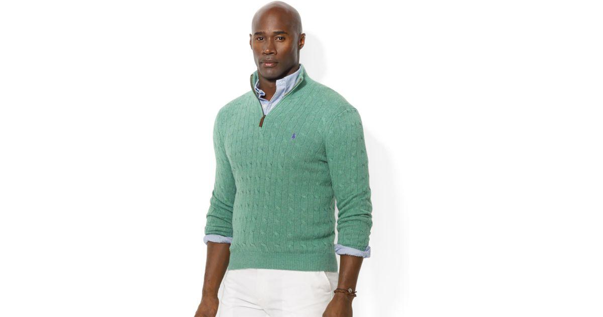 Lyst - Ralph Lauren Half Zip Cable Knit Tussah Silk Sweater in Green for Men