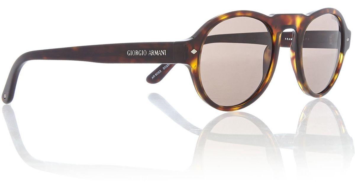 2337c37968eb Lyst - Giorgio Armani Ar8053 Round Sunglasses in Brown