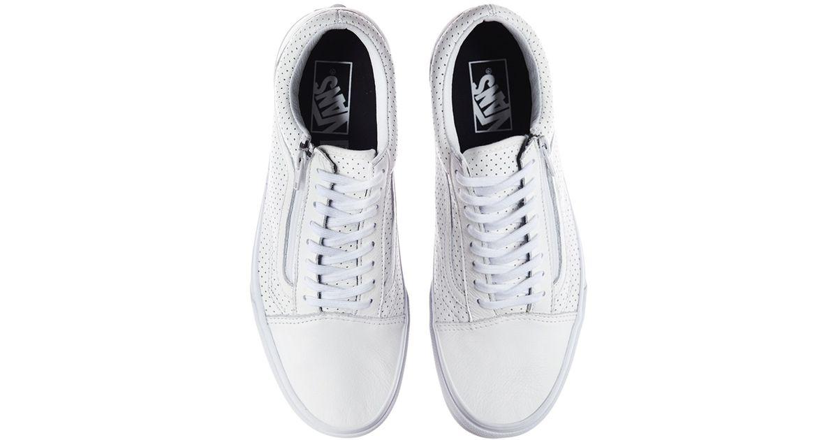 015cf773c9c53c Vans Old Skool Zip Perforated Leather Sneakers in White for Men - Lyst