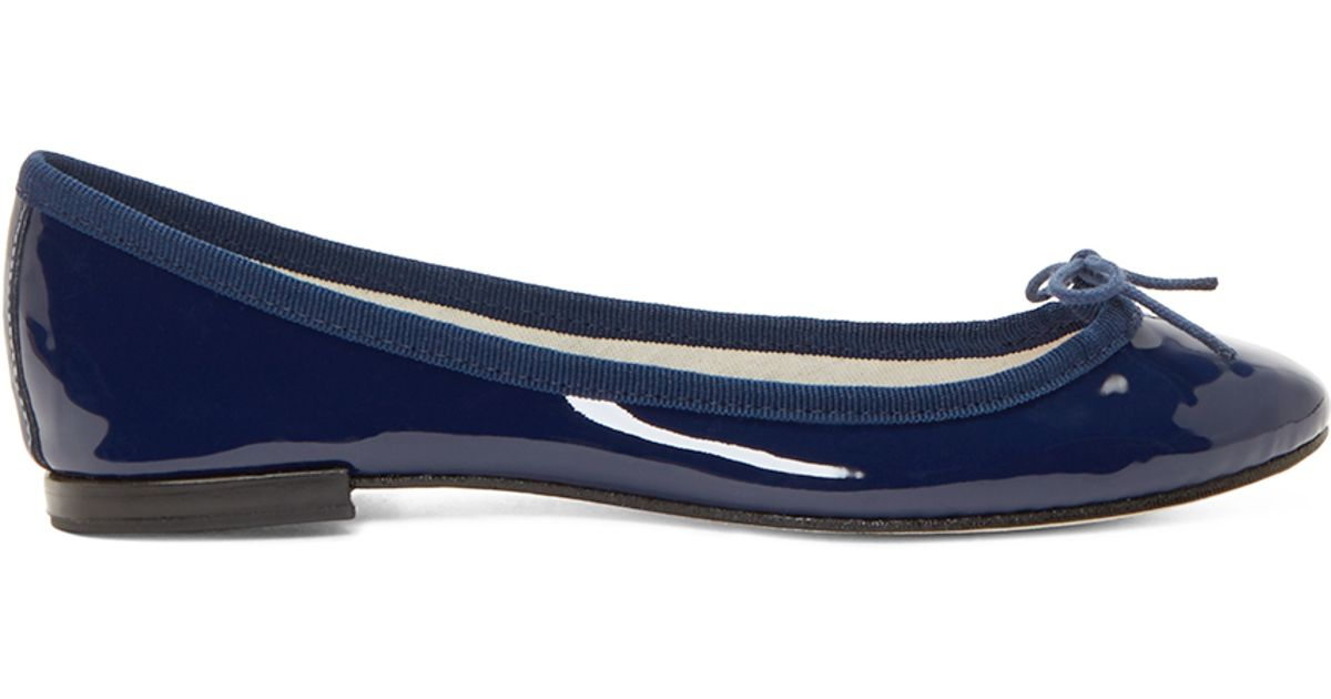 347a474aa02 Lyst - Repetto Navy Patent Cinderella Ballet Flats in Blue