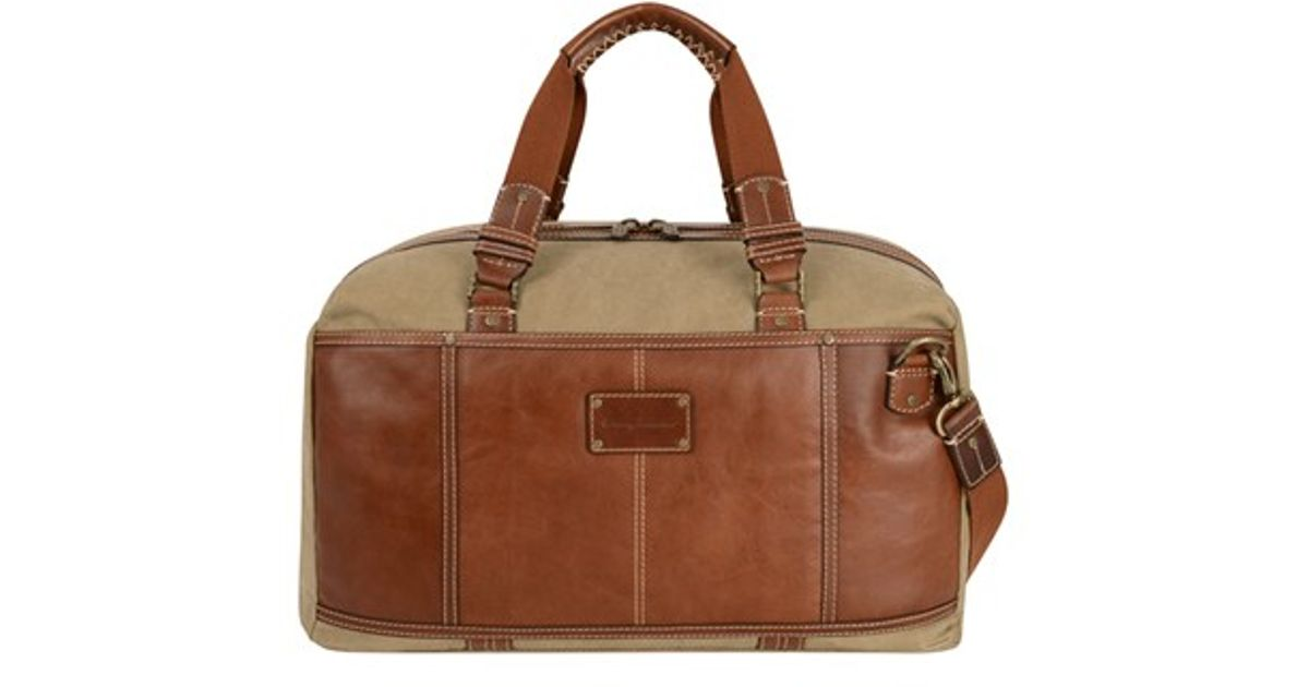 Tommy Bahama Canvas Amp Leather Duffel Bag In Natural For