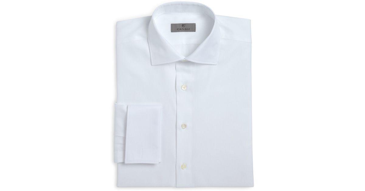 Canali herringbone french cuff classic fit dress shirt in for French cuff dress shirts for sale