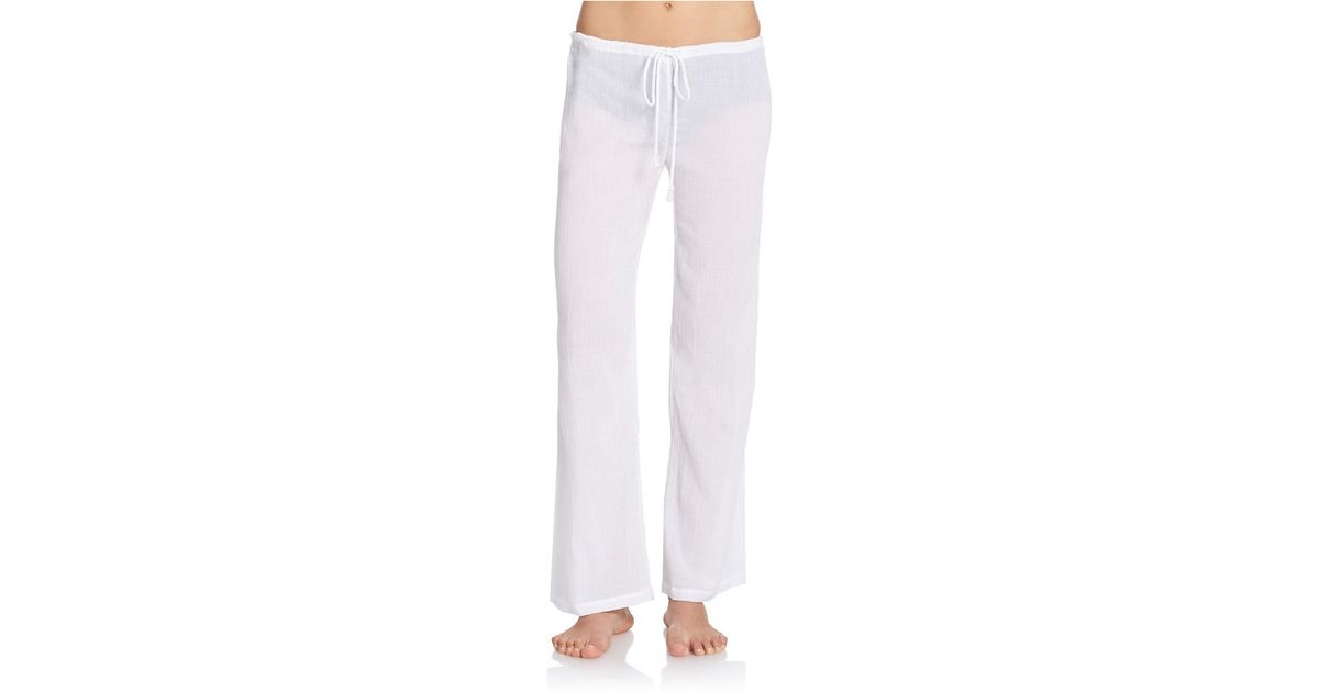 Amita naithani Drawstring Gauze Pants in White | Lyst