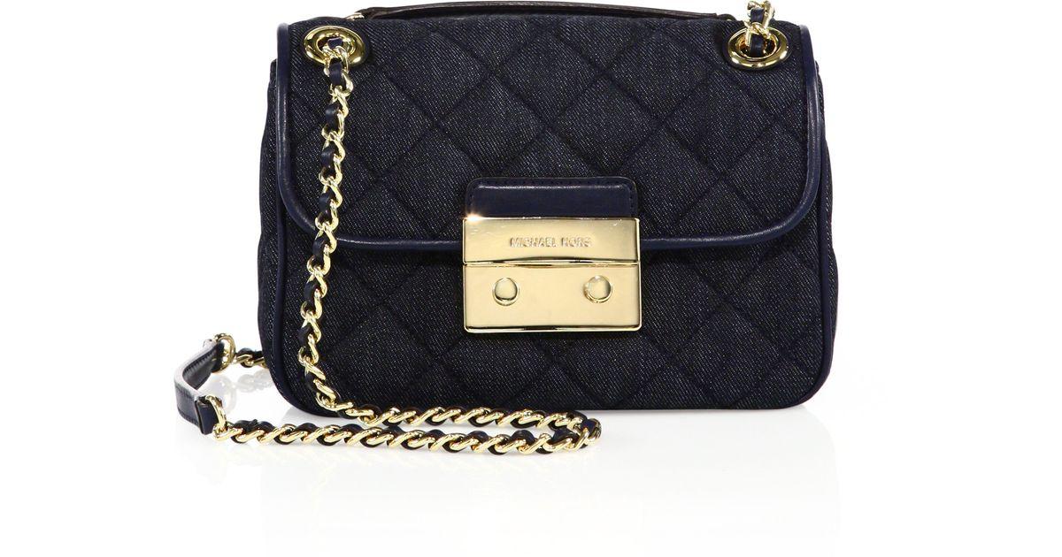 926fb08921ebea MICHAEL Michael Kors Sloan Small Quilted Denim Crossbody Bag in Black - Lyst