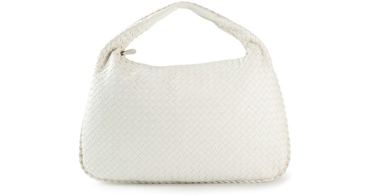 1659dc853f Bottega Veneta Maxi Veneta Intrecciato Shoulder Bag in White - Lyst
