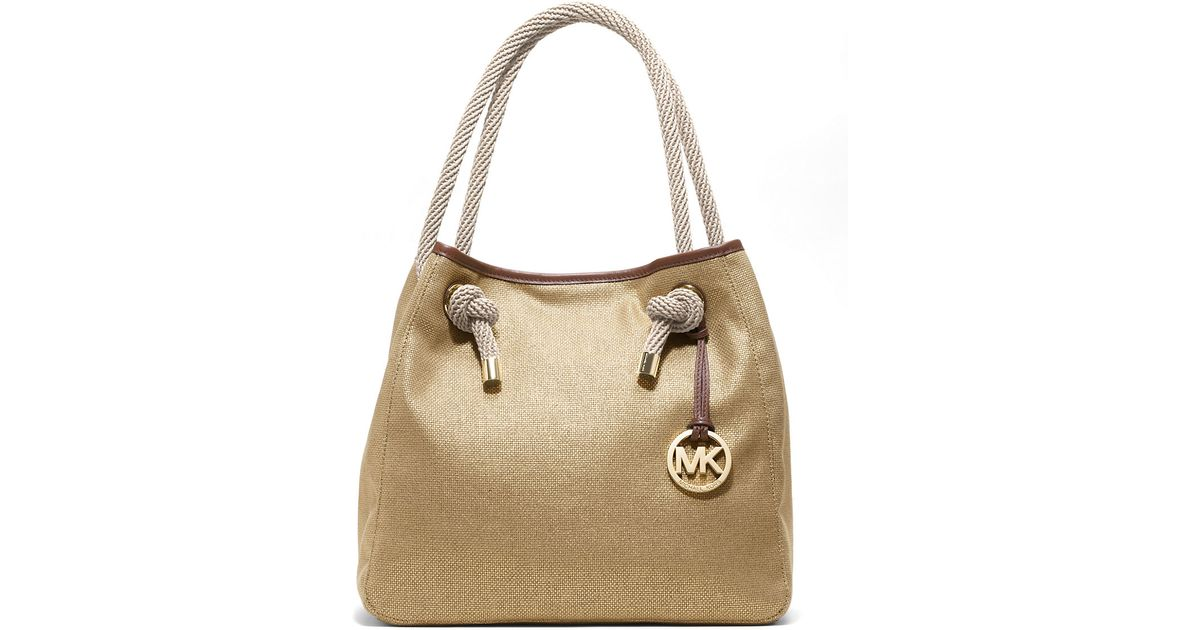ac8a0f49e477 Lyst - MICHAEL Michael Kors Marina Canvas Large Grab Bag in Metallic