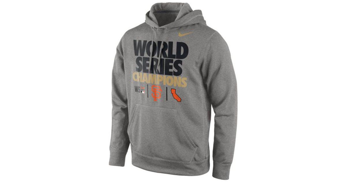 sports shoes 6eedd 767f7 Nike - Gray Mens San Francisco Giants World Series Champion Ko Hoodie for  Men - Lyst