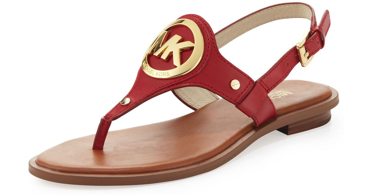 9f97b7674bc4af Lyst - MICHAEL Michael Kors Aubrey Logo Thong Sandal in Red