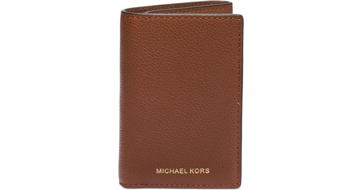 b27234a61a0e9c Lyst Michael Kors Jet Set Cavallo Pebble Trifold Wallet In Brown