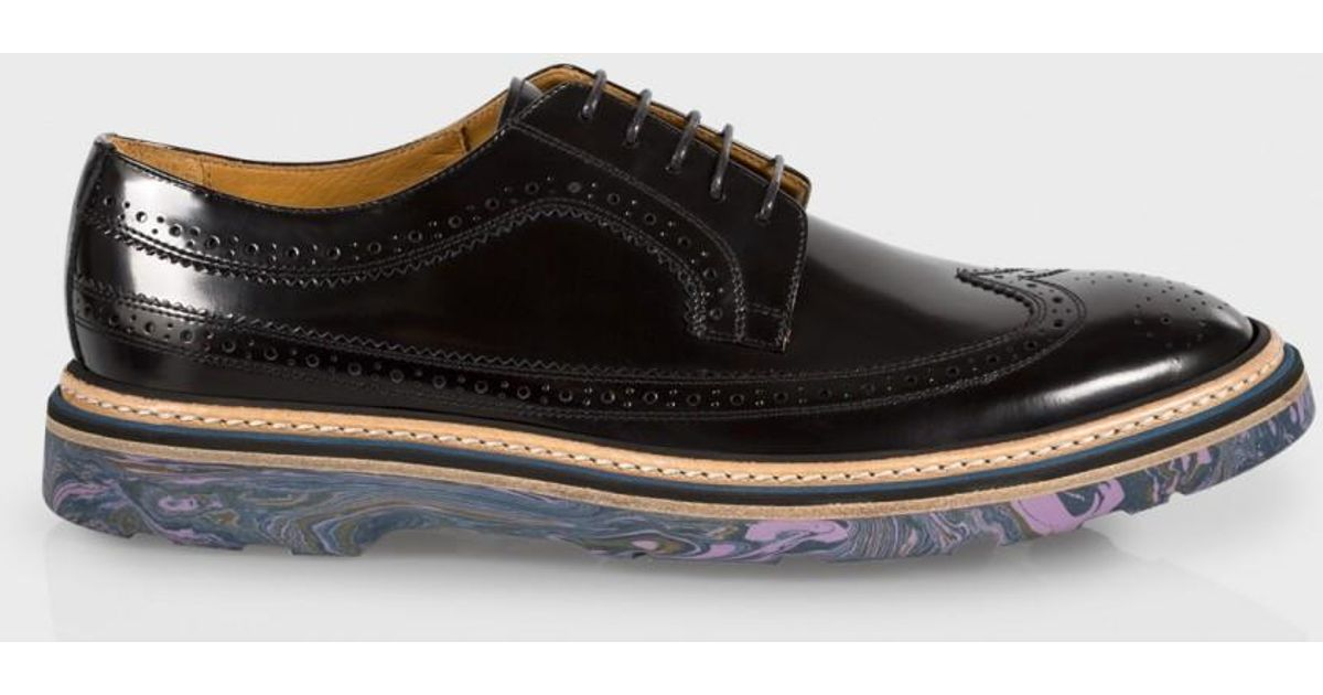 ef3cb3636e Paul Smith Men's Black Leather 'grand' Brogues With Marbled Navy Soles in  Black for Men - Lyst