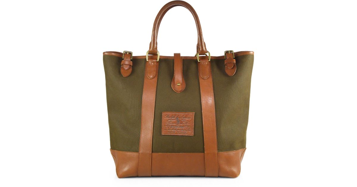 8500dab27e ... reduced lyst polo ralph lauren heritage canvas tote bag in green for  men b6e5b a5bcf