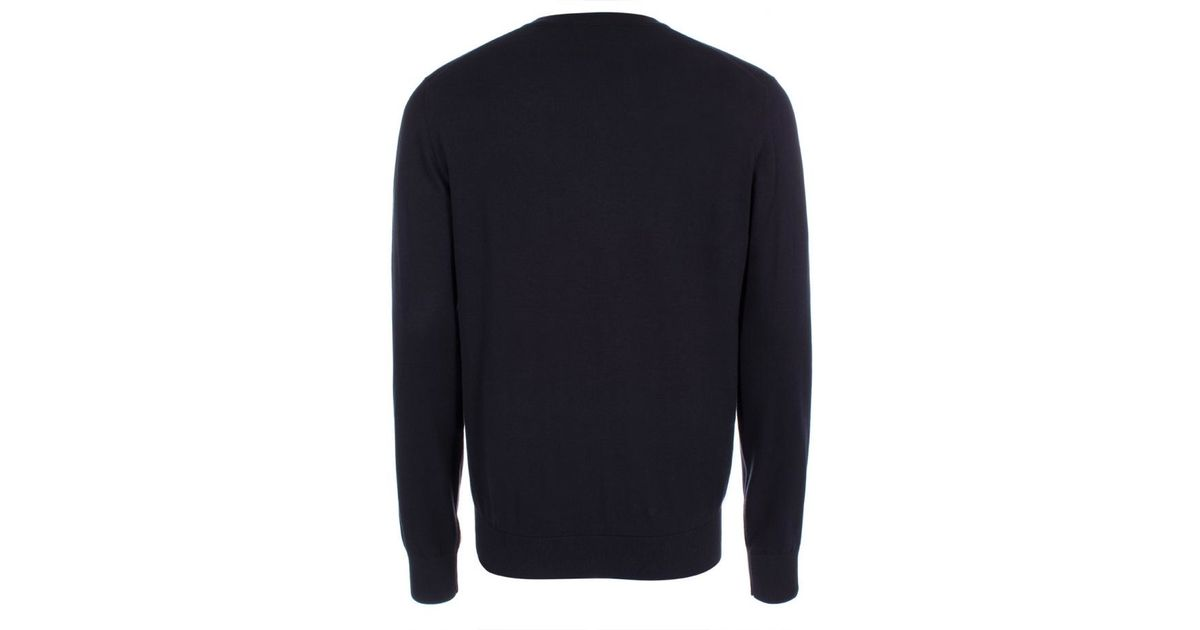 ae2c36271 Paul Smith Men's Navy V-neck Cotton Sweater With Striped Collar in Blue for  Men - Lyst