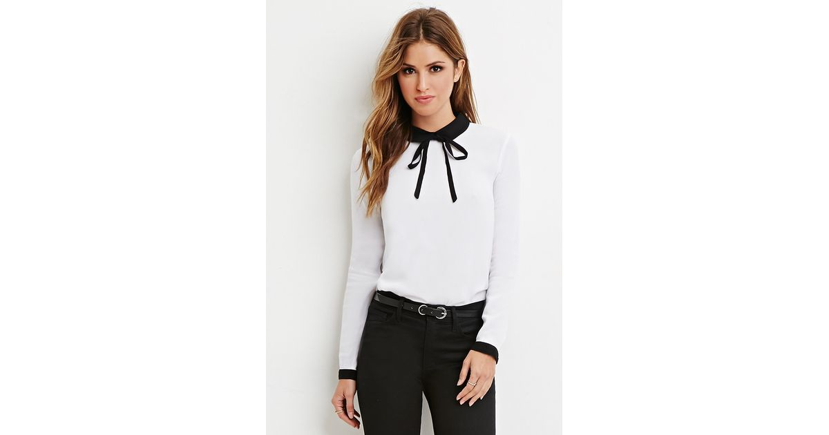 3e99a34992417 Lyst - Forever 21 Contrast Peter Pan Collar Blouse in Black