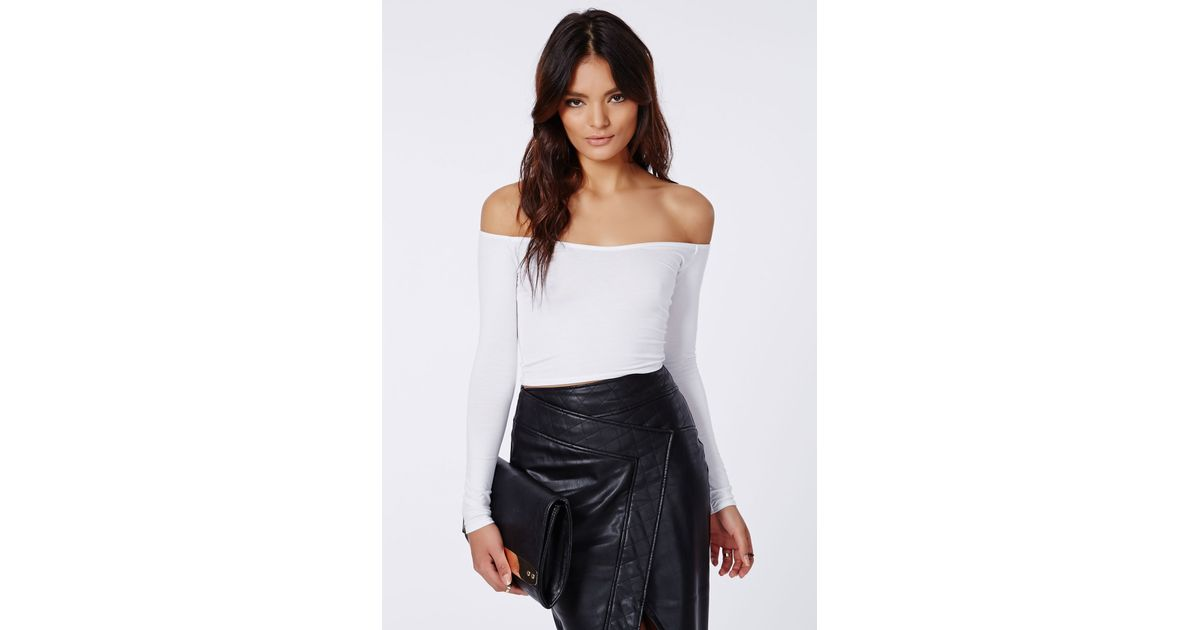6c302777ed883 Lyst - Missguided Carrisa Long Sleeve Jersey Bardot Crop Top White in White
