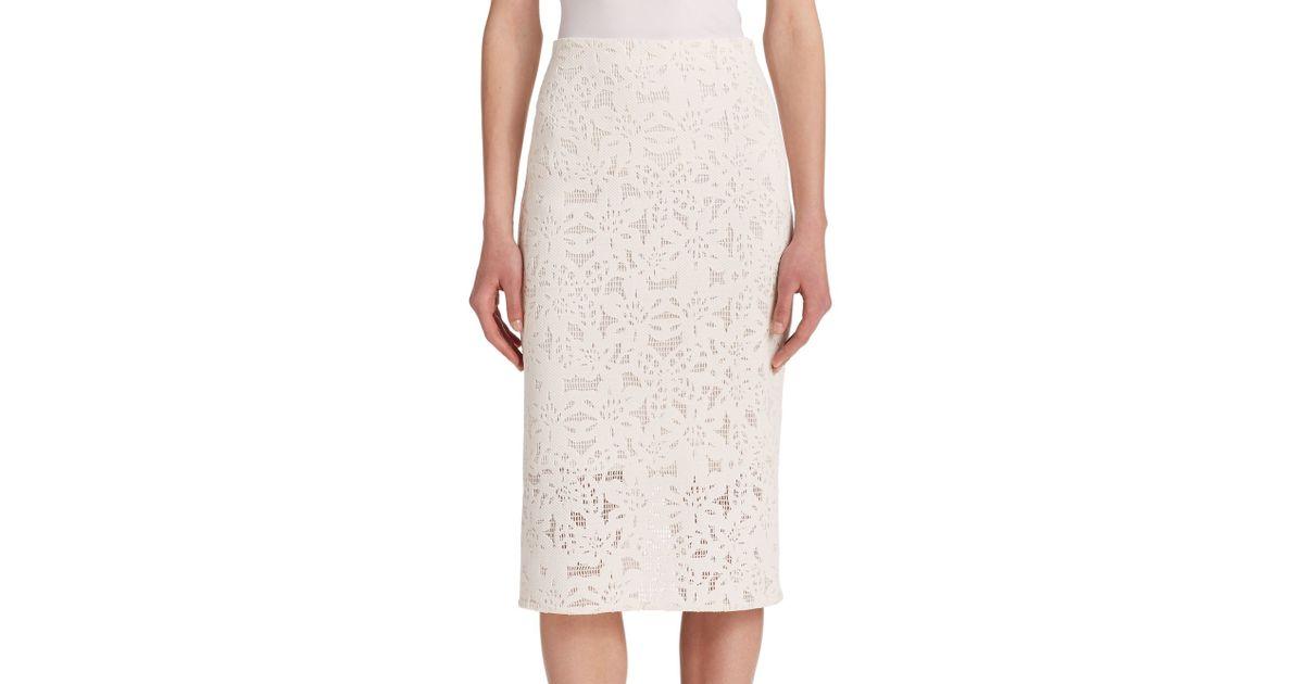 die cut pencil skirt in floral white lyst