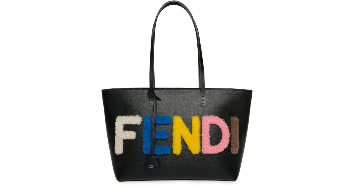 687a3562c464 Lyst - Fendi Logo Small Multicolor Shearling   Saffiano Leather Roll Bag