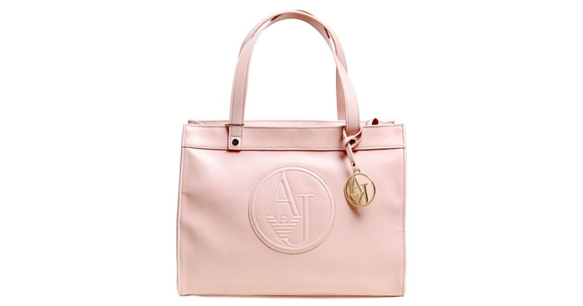 4601a2c55fbb Lyst - Armani Jeans Embossed Logo Faux Leather Tote Bag in Pink